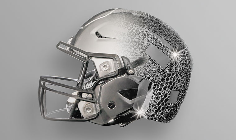 3D-printed pads for football helmets